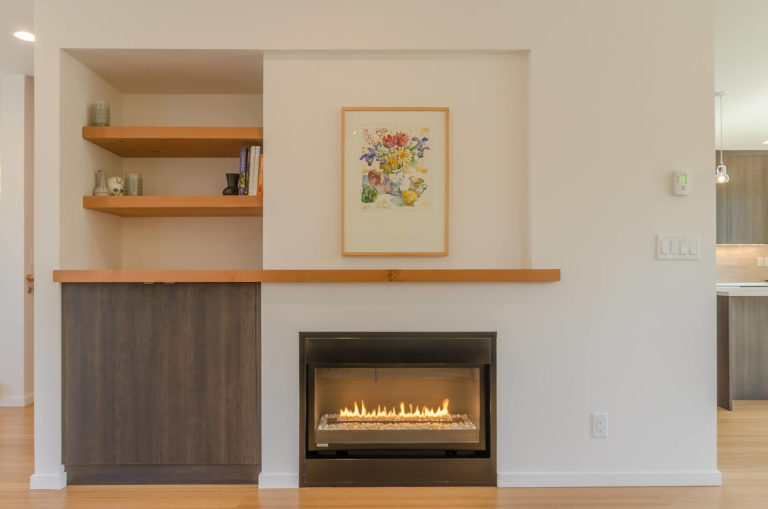 Heartwood Builders Home fireplace.